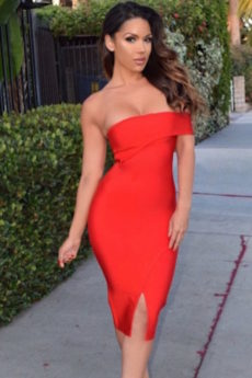 Red Single Off the Shoulder Celeb Inspired Midi Bandage Dress