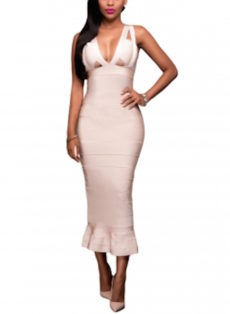 Cream Nude Celeb Inspired Midi Bandage Dress with Bust Peek-a-boo Cut Outs