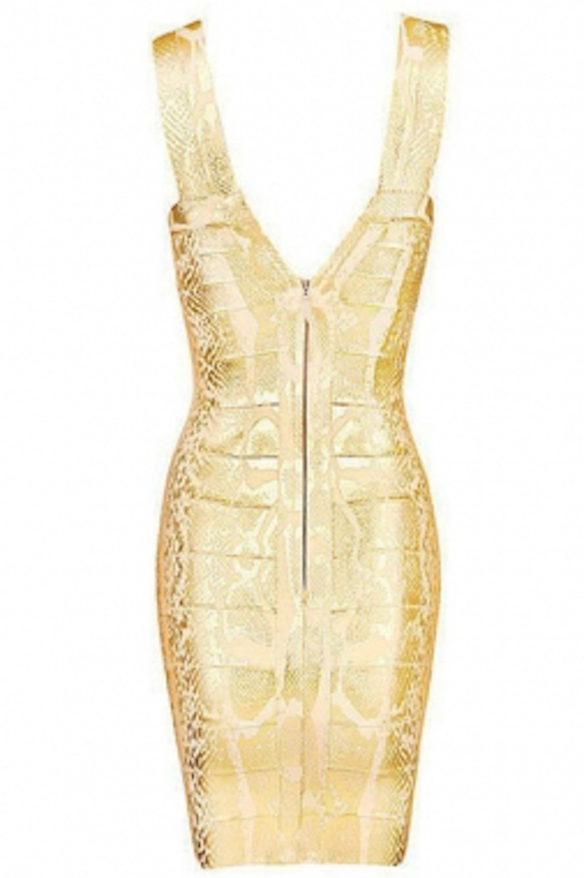 Gold Snake Print Foil Bandage Dress