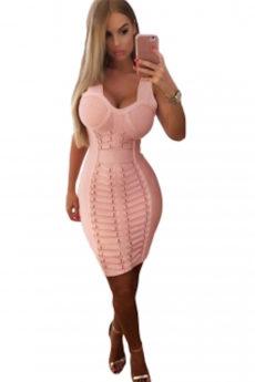 Pink Corset Styled Celeb Inspired Bandage Dress