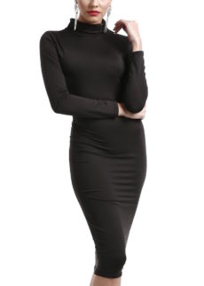 Black Long Sleeve Turtle Neck Midi Dress