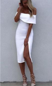 White Off the Shoulder Thigh Slit Celeb Inspired Midi Bandage Dress