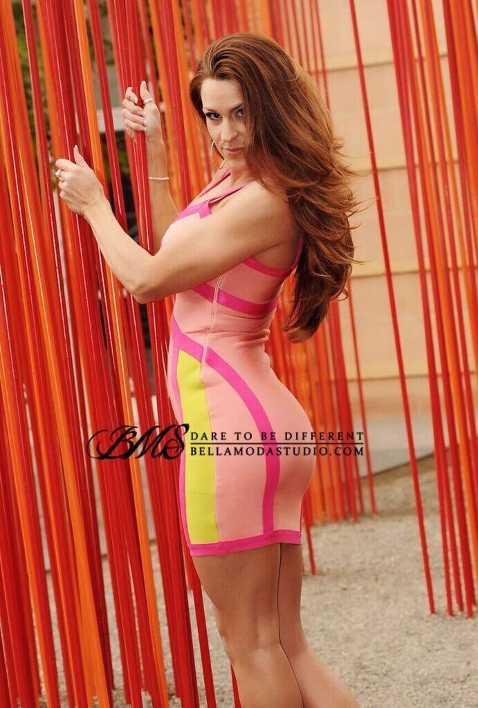 SMALL - Hot Pink & Neon Green Color Block Bandage Dress