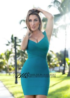 MEDIUM - Green Teal Cross Front Mini Bandage Dress