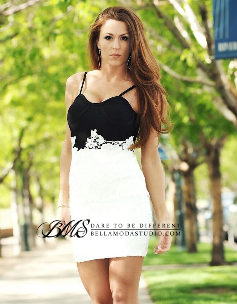 SMALL - Black White Lace Color Block Celeb Bandage Dress