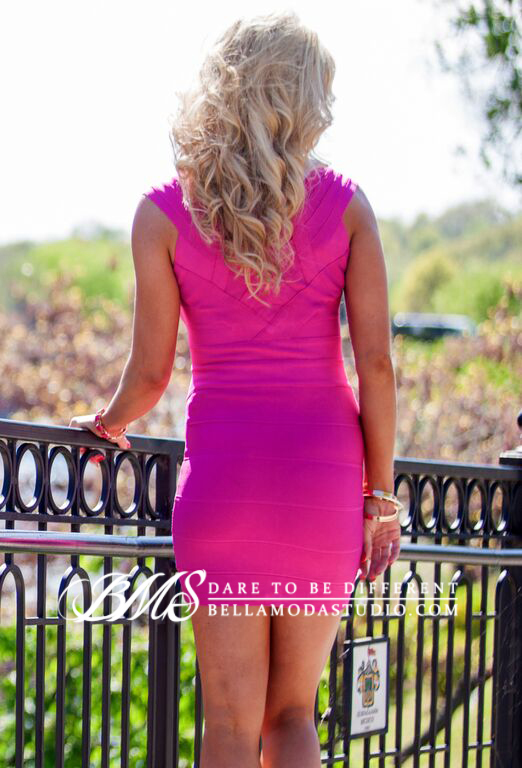 SMALL - Pink and Purple Front Zip Celeb Inspired Bandage Dress