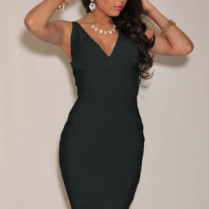 SMALL - Black Deep V Neck Celeb Inspired Bandage Dress