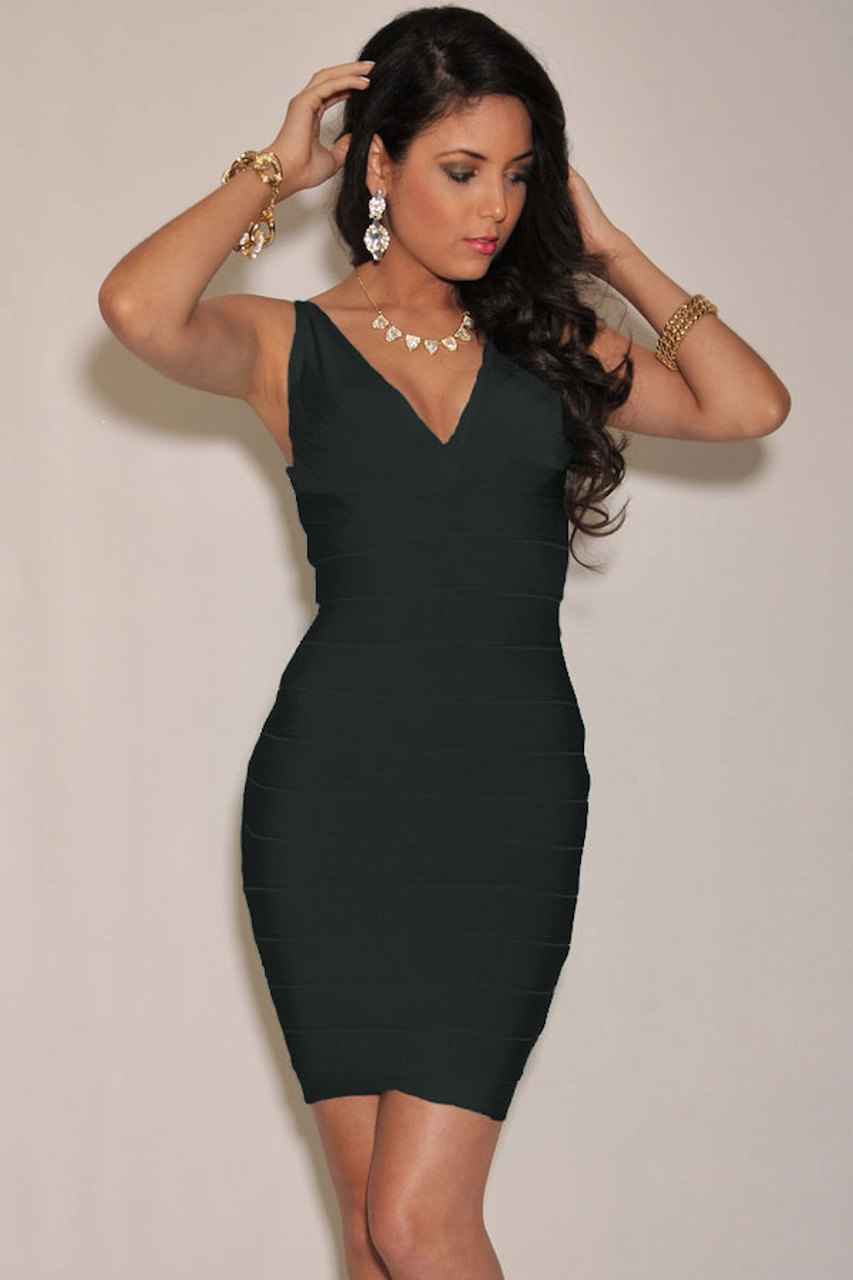 SMALL - Black Deep V Neck Celeb Inspired Bandage Dress