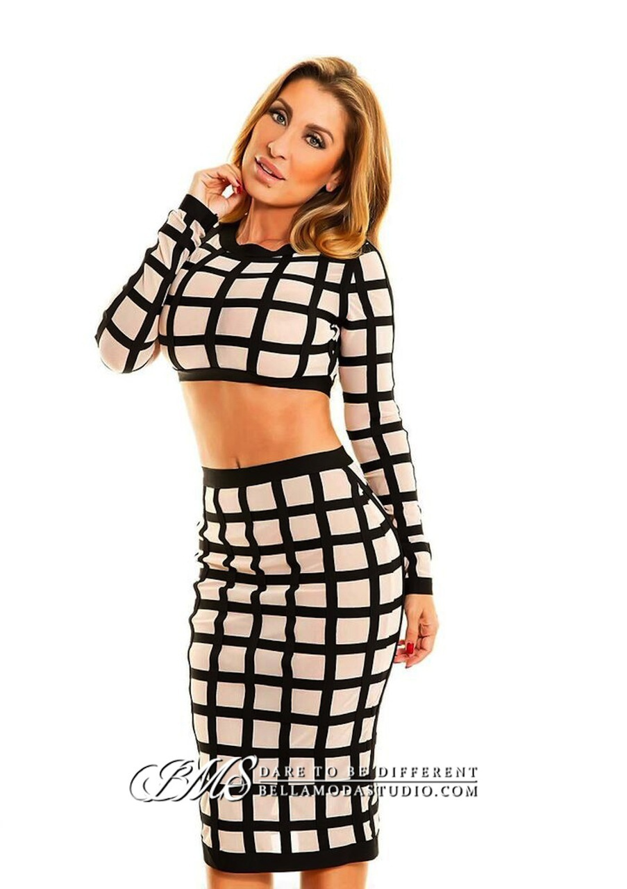 SMALL - Nude & Black Checkered Sheer Mesh Two Piece Bandage Dress