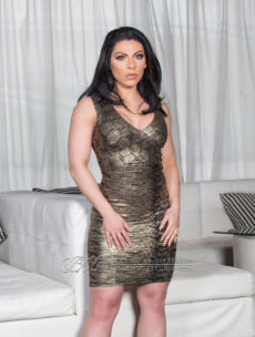 SMALL - Gold Foil W/ Black Undertone V Neck Celeb Inspired Bandage Dress