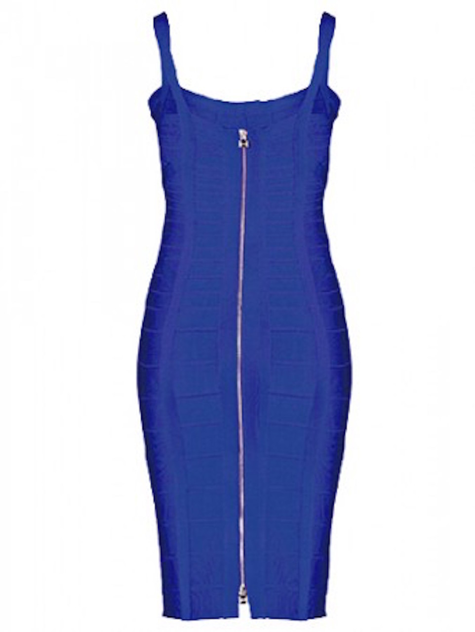 SMALL - Blue Square Neckline Celeb Inspired Mini Bandage Dress - LAST ONE