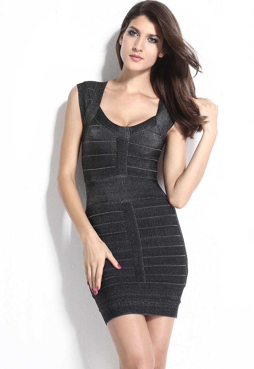 SMALL - Black Little Silver Accented Bandage Mini Dress -LAST ONE