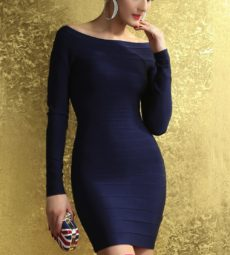 SMALL -Royal Blue Off the Shoulder Long Sleeve Celeb Inspired Bandage Dress