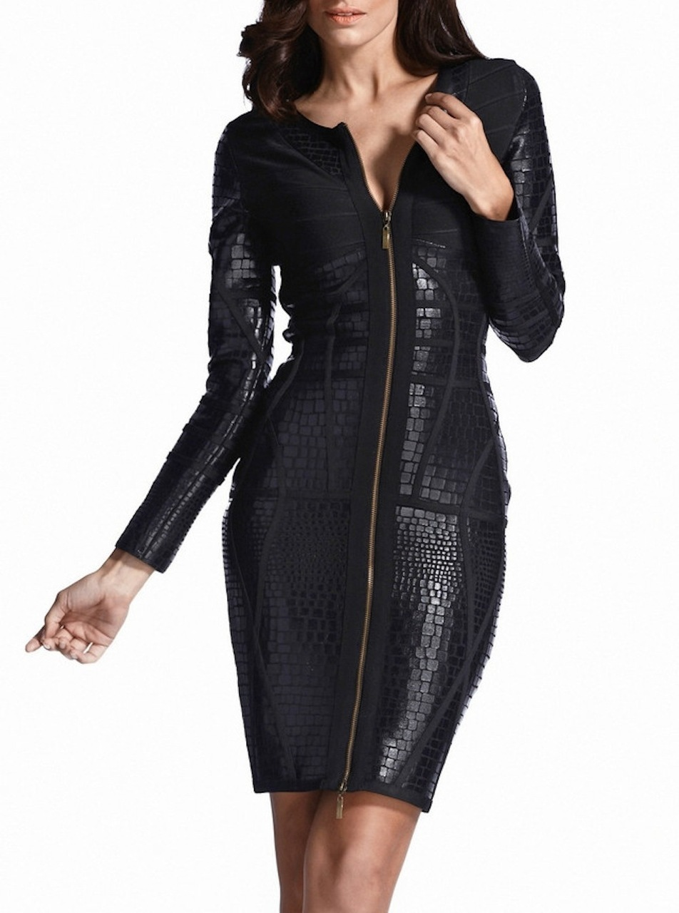 SMALL - Black Little Front Zip Long Sleeve Textured Bandage Dress