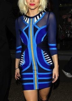 SMALL - Blue Tribal 'Mercy' Mesh Mid Sleeve Celeb Bandage Dress