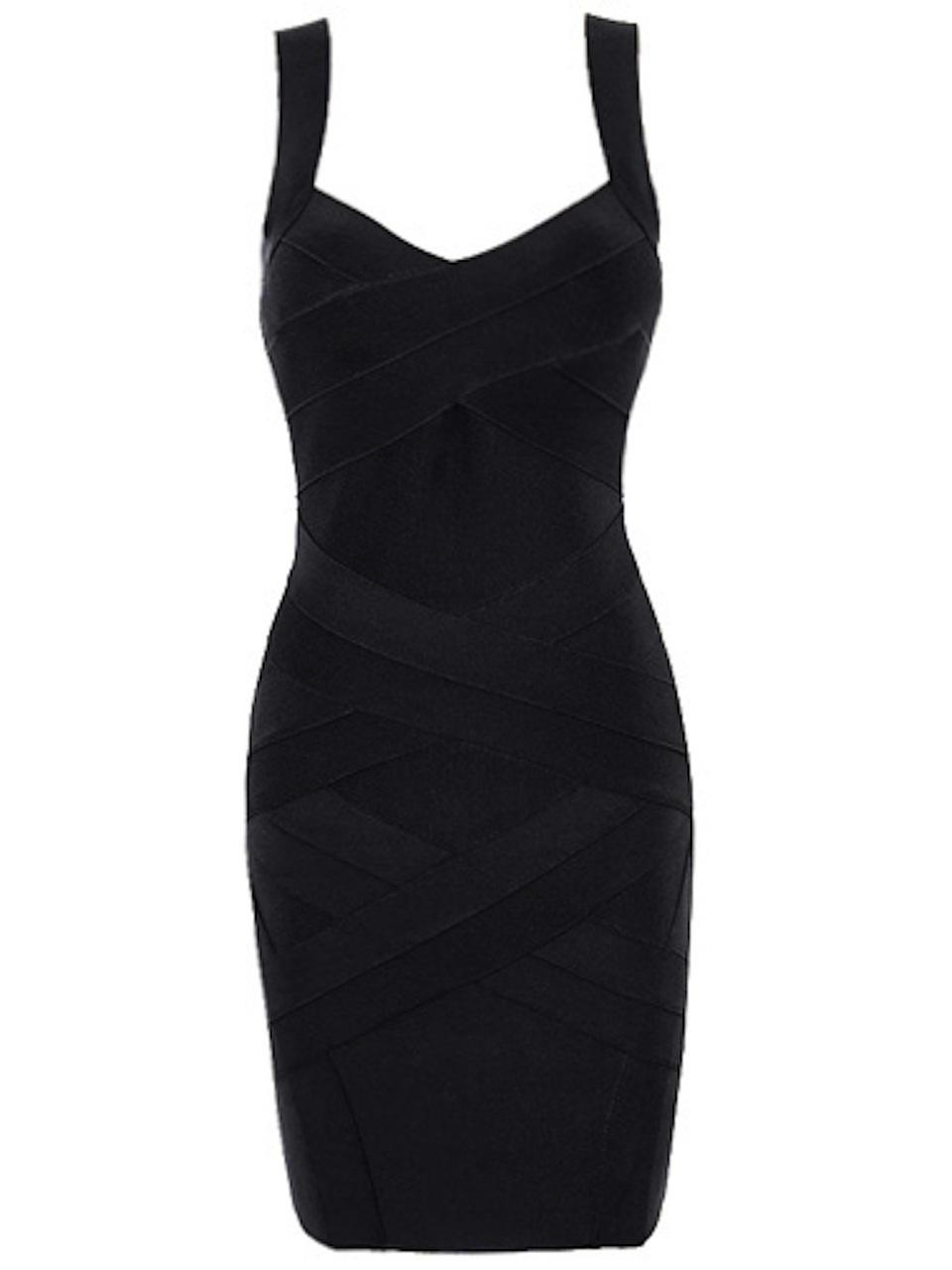 SMALL - Black Little Classic Cross Back Celeb Bandage Mini Dress -LAST ONE