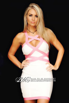 SMALL - Pink & White Cross Over Mini Halter Bandage Dress -LAST ONE