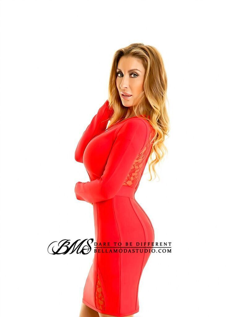 SMALL - Red Lace Accented Long sleeve Bandage Mini Dress - LAST ONE