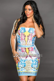 SMALL / MEDIUM  Multi-Color  Celeb Inspired Bandage Dress - LAST ONE