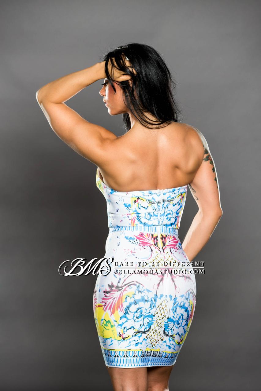 SMALL / MEDIUM  Multi-Color  Celeb Inspired Bandage Dress - LAST ONE