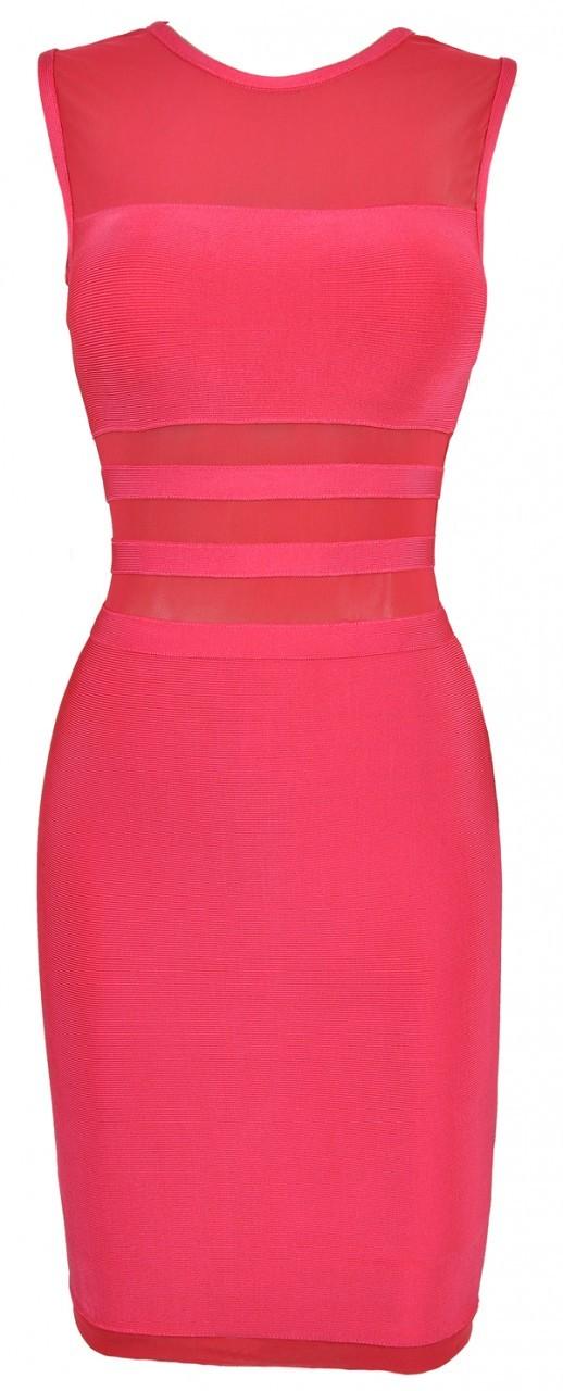 SMALL - Hot Pink Mesh Sheer insert High Neck Bandage Dress- LAST ONE