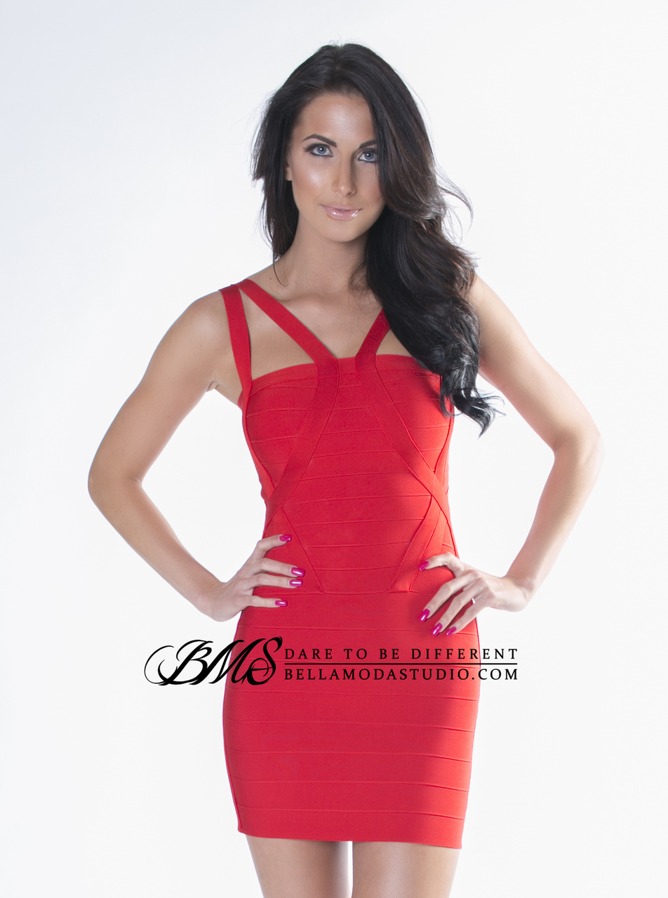 SMALL - Red Square Neck Strappy Top Celeb Inspired Bandage Dress - LAST ONE