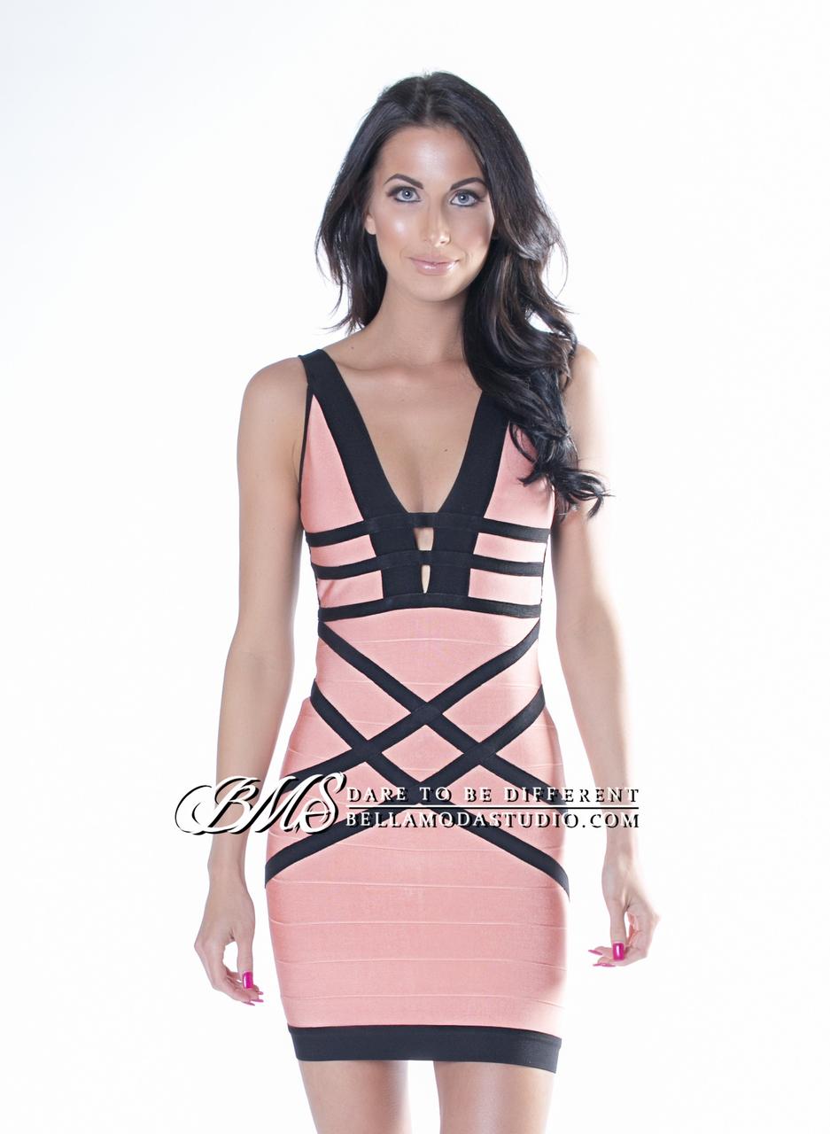 MEDIUM - Coral & Black Deep V-Neck, Fishnet Caged Back Bandage Dress