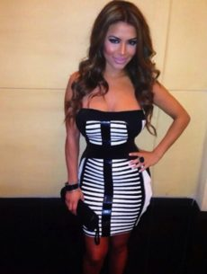 SMALL - Black & White Strapless Leatherette Celeb Inspired Bandage Dress -LAST ONE