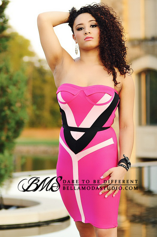 SMALL - Hot Pink & Black Strapless Bandage Corset Dress -LAST ONE