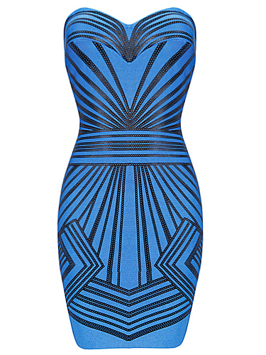 SMALL - Blue Sequin Striped Sweetheart Strapless Bandage Dress - LAST ONE