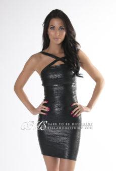 SMALL - Black Little Strappy Metallic Foil Bandage Dress - LAST ONE