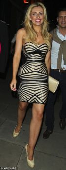 SMALL - Tan Black Leatherette Strapless Celeb Inspired Bandage Dress