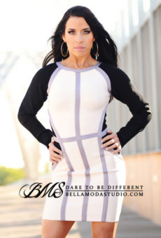 SMALL - Cream Black & Grey Long Sleeve Color Block Bandage Dress -LAST ONE