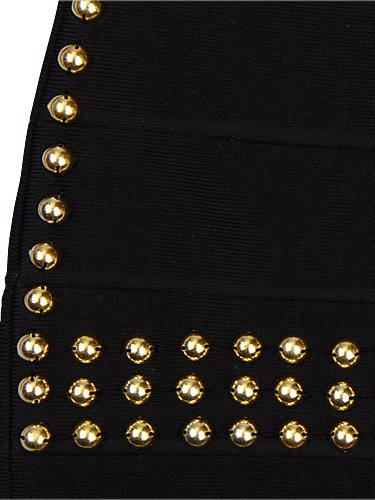 SMALL - Black Little Long Sleeve Gold Studded Bandage Dress