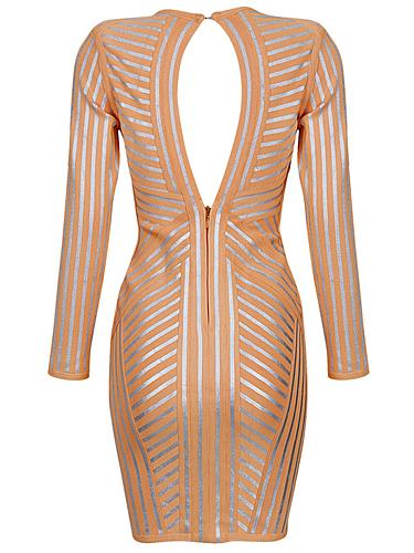 SMALL - Orange Apricot Metallic Stripe Long Sleeve Bandage Dress -LAST ONE