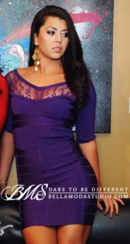 SMALL - Purple Leopard Lace Bust Print Bandage Dress -LAST ONE