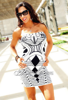 SMALL - Black & White Strapless Diamond Cards Bandage Dress - LAST ONE