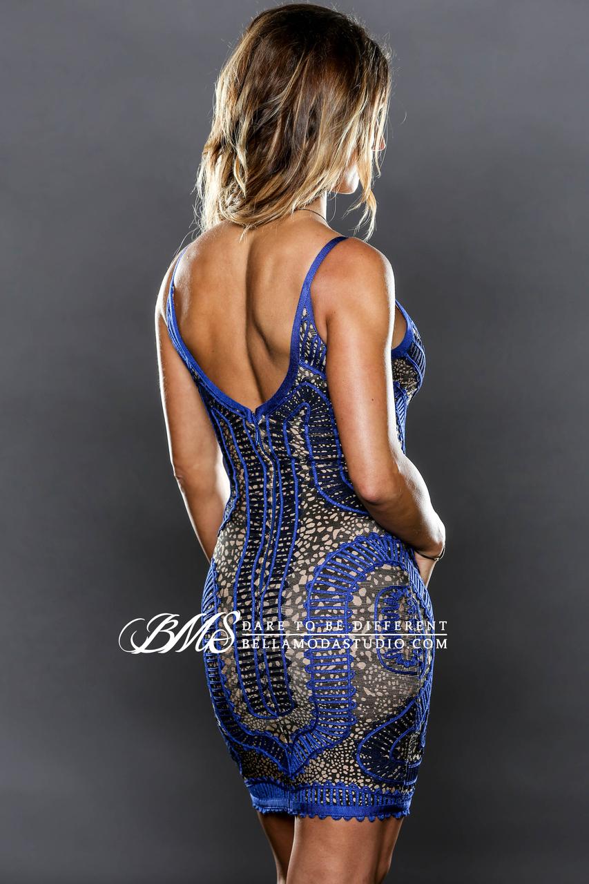 MEDIUM - Blue, Tan & Black Crochet Detailed Celeb Inspired Bandage Dress -LAST ONE