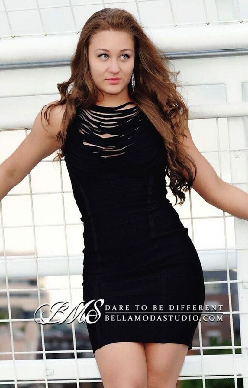 MEDIUM - Little Black Tasselled Front Cowl Neck Bandage Dress