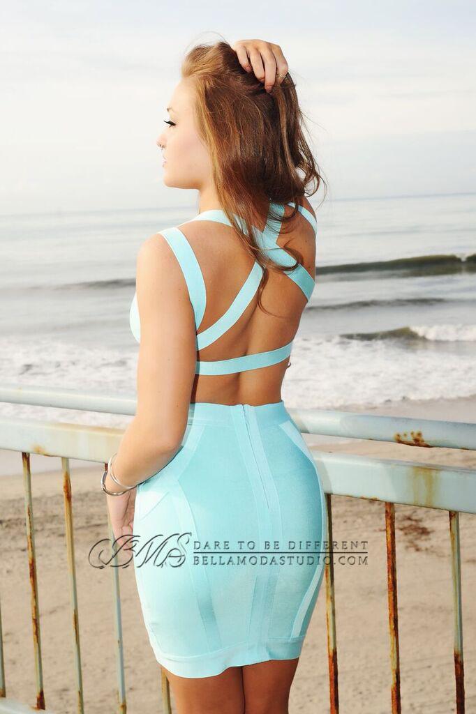 MEDIUM - Aqua Blue Crisscross Cut Out Two Piece Bandage Skirt Set -LAST ONE