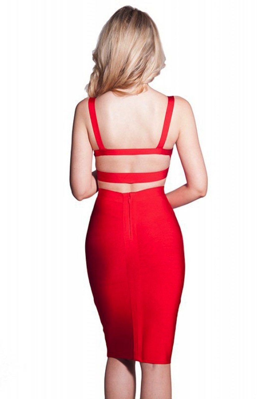 MEDIUM - Red Two Piece Crop Halter & High Waisted Bandage Two Piece Dress