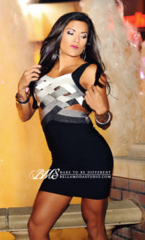 MEDIUM - Black & Grey Ombre Woven Bust Cut Out Little Bandage Dress