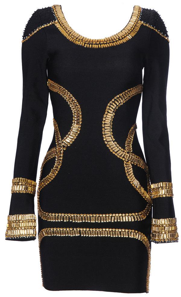 MEDIUM  - Gold Crystal Embellished Black Bandage Mini Dress