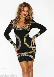 MEDIUM  - Gold Crystal Embellished Black Bandage Mini Dress