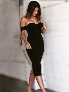 Black Timeless Sweetheart Neckline, Off the Shoulder Midi Bandage Dress