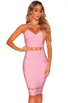 Sweet Pink Lace-Up Cut Out Detail V-Neck Bandage Dress