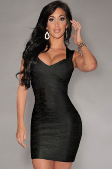 MEDIUM- Black Little Foil Cross Front Bandage Dress