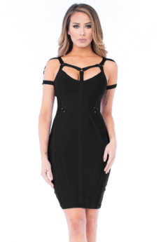 Black Little Strappy Back & Front Accented Bandage Dress
