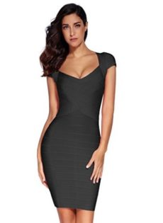 Black Little Cross Front Classic Mini Bandage Dress