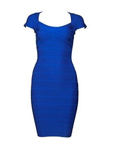 Royal Blue Cross Front Classic Mini Bandage Dress